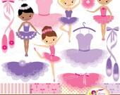 Little Ballerinas Clip Art Set Cliparts Cute girls Pink Purple shades ballerina dress illustration party elements Digital Papers pf00065-1