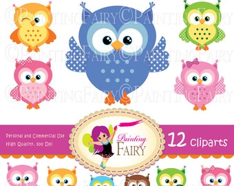 Clipart set INSTANT DOWNLOAD Big Collection Cute owls Digital clip art Girl Boy fun owl Party Baby digital elements garphics pack pf00036-3