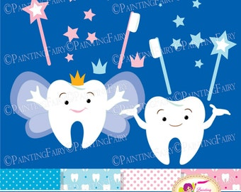 Tooth Fairy Clip Art Set Cliparts Cute teeth Pink Blue crowns stars fairy wings magic wands toothbrush elements Digital Papers DIY pf00066-1