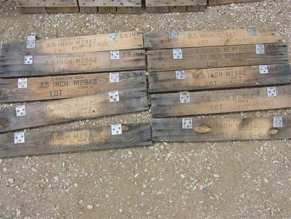 1950's OLD VINTAGE ammo box crate wooden boards reclaimed WOOD salvage barn military