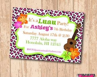 DIY Printable Luau Party Invite