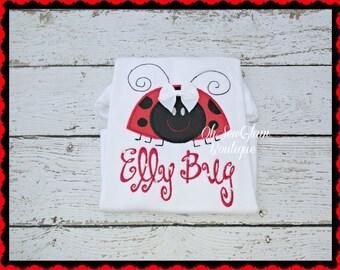 Girls Personalized LadyBug Embroidered Shirt- LadyBug Embroidered Shirt - Embroidered Shirt -