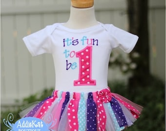 Personalized Polka Dot First Birthday Fabric Tutu Outfit - Fun to be One