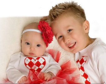 Personalized Valentine's Day Coordinating Sibling Shirts - Red and White Argyle