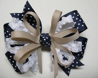 Navy Blue Swiss Polka Dot Hair Bow Khaki and White Back to School Boutique Uniform Accessory