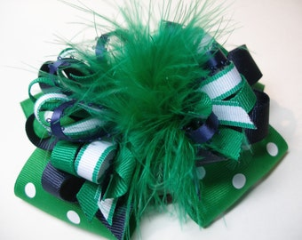 Large Over the Top Hair Bow Emerald Primary Green Korkers Marabou Navy Blue White Unique Big Boutique Toddler Girl