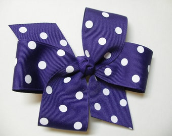 True Dark Regal Purple Polka Dot Hair Bow Simple Traditional Basic Classic Style Toddler Girl