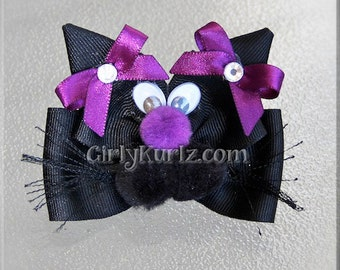 PURPLE Black Cat Hair Bow, Halloween Hair Bow, Halloween Hair Clip, Black Cat Bow, Halloween Bow, Hair Bow for Girls