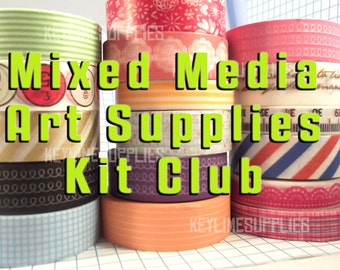 Mixed Media Art Supplies Kit of the Month Club - Subscription - Washi Paper Tape, Punchinella, Tokens, Tags, for Art Journals & Altered Art