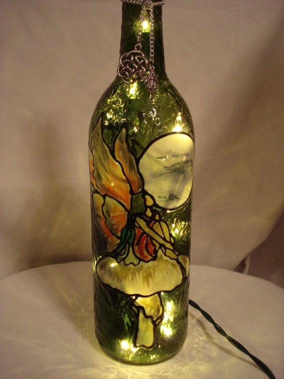 Mushroom Fairy Wine Bottle Lamp