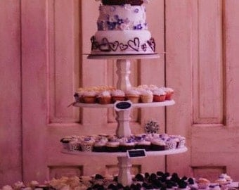 Tiered Cupcake Stand, Shabby Chic, Rustic, Vintage style 4 tiered cupcake stand