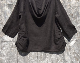 Pleated inset low cowl neck top, 100% Lightweight linen, 3/4 Sleeve.