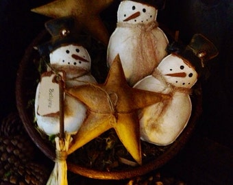 Primitive Snowmen and Stars Bowl Fillers