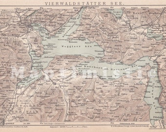 1899 Lake Lucerne or Vierwaldstättersee, Switzerland at the end of the 19th Century Original Dated Antique Map