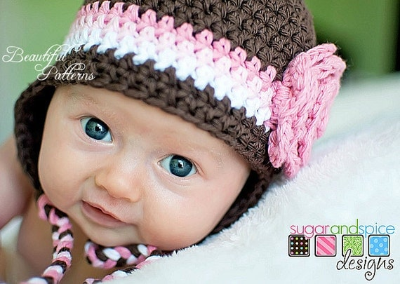 Crochet Hat Patterns Baby Girl : Crochet Hat Pattern Photo Prop Baby Girl Flower Earflap Hat