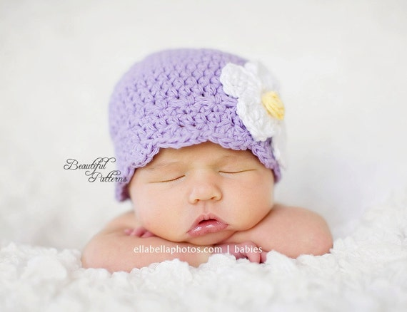 Crochet Hat Pattern Baby Crochet Hat Daisy Flapper Beanie Crochet Hat Pattern Newborn to Adult Photo Prop Instant Download