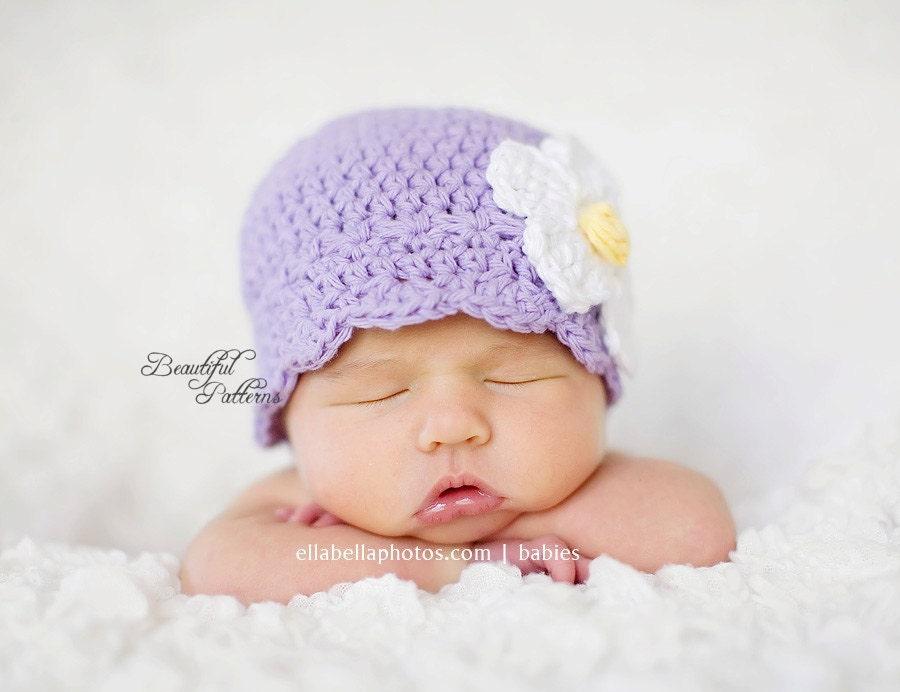Daisy Crochet Baby Hat Pattern : Crochet Hat Pattern Baby Crochet Hat Daisy Flapper Beanie