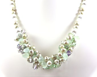 Pale Green Pearl, Crystal and Chalcedony Cluster Collar Necklace KarenWhalenDesigns
