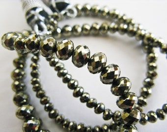 Pyrite Rondelles, Micro Faceted, AAA, 3-4mm, aaagems, 16 Inches, Full Strand