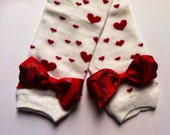 Red Heart Leg Warmers with Sparkle, Glitter Bow for Valentine's Day, Arm Warmers