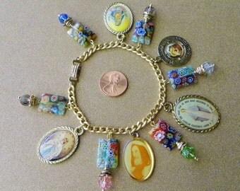 Religious Gold Tone Charm Bracelet