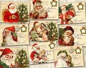 Christmas Greeting Cards 3.5x2.5 inch Santa Claus Cards on Digital Collage Sheet - Printable Downloads - MERRY CHRISTMAS CARDS
