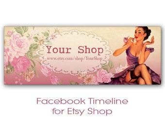 Pink Pinup Facebook timeline cover banner Digital images Personalized Facebook banner - PINK FACEBOOK TIMELINE