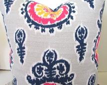 BLUE PILLOWS Navy Blue Denim Throw Pillow Covers Pink Yellow Ikat Dark Blue Decorative Pillow Covers  16 18x18 20 All Sizes. Home Decor