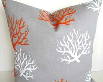 CORAL PILLOWS Grey Orange Outdoor Coral Throw Pillow Covers Gray pillows 12x18 16 18x18 20 .All Sizes  Indoor Outdoor Pillow Covers