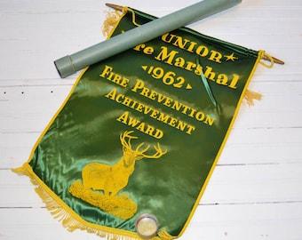1962 Vintage Junior Fire Marshal Banner | Fire Safety | 1962 Award | Award Banner