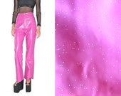 vintage Rainbow Holographic GLITTER Pink Vinyl pvc PATENT Club Kid Cyber rave plastic Pants