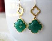 Green Onyx Double Quatrefoil Earrings, Clover Earring, Emerald Green Gemstone, Gold Vermeil, Onyx Jewelry