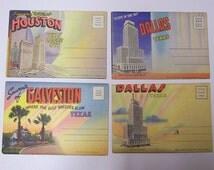 Vintage Postcard Souvenir Folders of Houston Dallas & Galveston, Texas