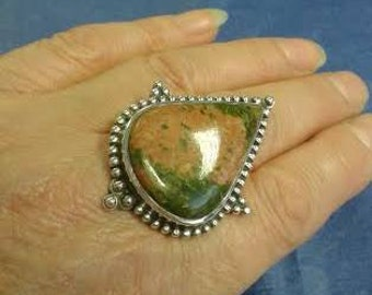 ENORMOUS Unakite Vintage One-Off Hand-Crafted Silver Ring