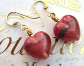 Pretty Murano Rose/ Ruby Gold Aventurine Satin 12mm puffed Hearts earrings