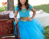 Disney Inspired Aladdin Princess Jasmine Genie Tutu Dress Costume. Great for Themed Birthdays, Photos, Costumes, plays and more