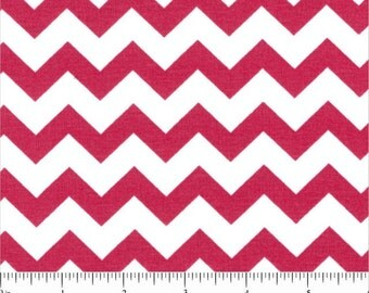 Small Fuchsia and White Chevron cotton quilting fabric - hot pink zig zags - by the continuous YARD