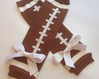 Baby Girl Football Legwarmers - toddler football leg warmers - football leg warmers - fall legwarms - thanksgiving leg warmers