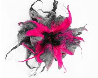 Felted Brooch felt grey nuno nunofelt silk flower folk boho gray fog pink wool victorian fairy
