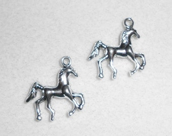 Silver Prancing Horse Charm