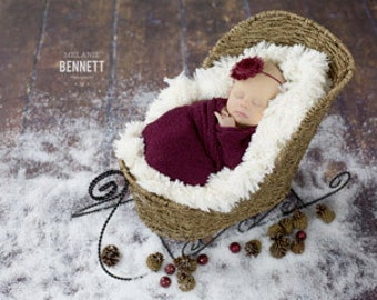 Newborn Photo Prop Set: Wine Knit Wrap w/Free Headband for Newborn Photo Shoot, Maternity Wrap, Newborn Wrap, Newborn Prop, Infant Photo