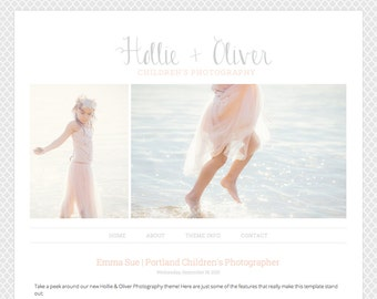 Blogger Template Premade Blog Theme for Photography, with Image Slideshow, 1 Column - Hollie & Oliver
