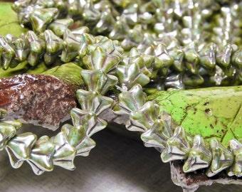 Green Turquoise Picasso Bell Flower - 5 Petal Flower - 9x6mm - Czech Glass Beads - 25 beads - 2468