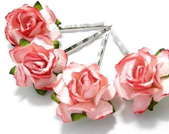 Tickled Pink Rose Floral Hair Clip Set/ Traditional/ Bridal/ Wedding Hair Accessories/ Bridesmaid Bobby Pin/ Wedding Flower Pins