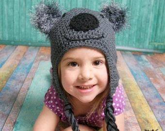 Crochet Beanie - Crochet Koala Beanie - Winter Hat - Winter Accessories - Beanie - Koala - Koalas - Koala Hat - Photo Prop Beanie - Girls