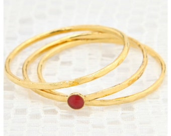 Gold rings, Stackable rings, Thin dainty set of gold rings, knuckle gold filled ring, enamel ring, delicate jewelry