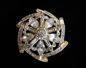Vintage Rhinestone Pinwheel Round Brooch Pin on a ST Setting - Lovely