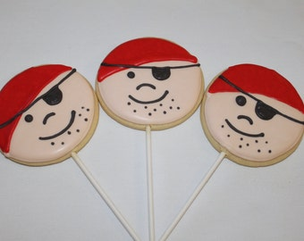 PIRATE  Decorated Sugar cookie favors 1 Dozen (12)