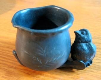 1920s Silver Plate Salt Bowl with Bird