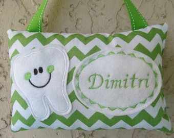 Tooth Fairy Pillow Green Chevron Personalized